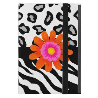 Black & White Zebra & Cheetah Skin & Orange Flower Cover For iPad Mini