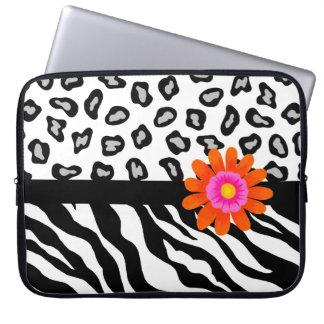 Black & White Zebra & Cheetah Skin & Orange Flower Laptop Sleeves
