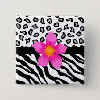Black & White Zebra & Cheetah Skin & Pink Flower 2 Inch Square Button