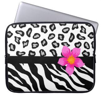 Black & White Zebra & Cheetah Skin & Pink Flower Computer Sleeve