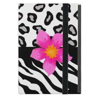 Black & White Zebra & Cheetah Skin & Pink Flower iPad Mini Case