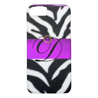 BLACK WHITE ZEBRA FUR VIOLET PURPLE GEM MONOGRAM, iPhone 8/7 CASE