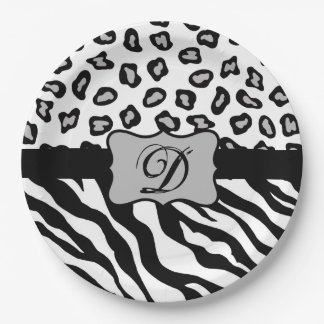 Black White Zebra Leopard Skin Monogram 9 Inch Paper Plate
