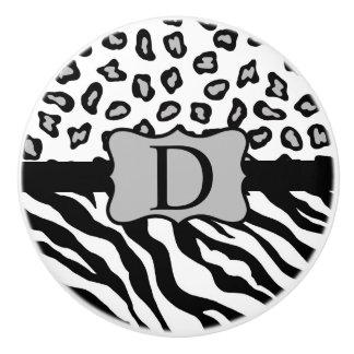 Black White Zebra Leopard Skin Monogram Ceramic Knob