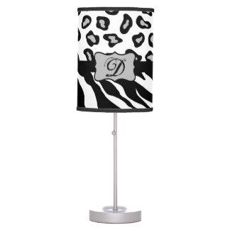 Black White Zebra Leopard Skin Monogram Desk Lamps