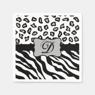 Black White Zebra Leopard Skin Monogram Paper Napkins