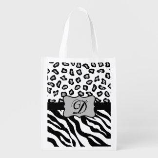 Black White Zebra Leopard Skin Monogram Reusable Grocery Bags