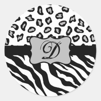 Black White Zebra Leopard Skin Monogram Classic Round Sticker