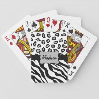 Black White Zebra Leopard Skin Name Personalized Poker Cards