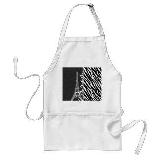 Black & White Zebra; Paris Aprons