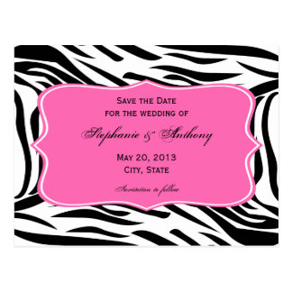 Black, White Zebra Print, Hot Pink Save the Date Postcard