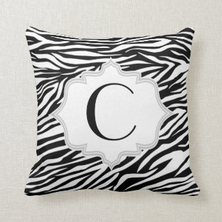 Black white zebra print pattern custom throw pillow