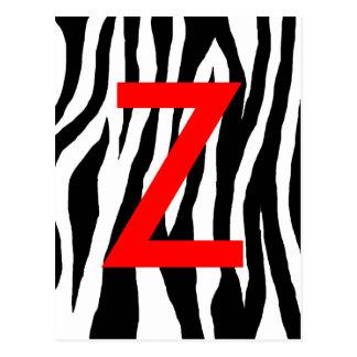 Black & White Zebra Print Postcard