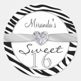 Black white zebra, ribbon Sweet 16 Sticker