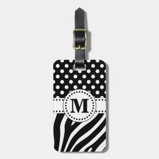 Black & White Zebra Stripes & Polka Dots Monogram Luggage Tag