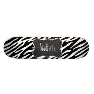 Black & White Zebra Stripes; Vintage Chalkboard Skateboard Deck
