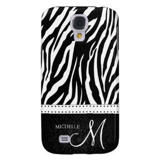Black & White Zebra stripes with Black damask