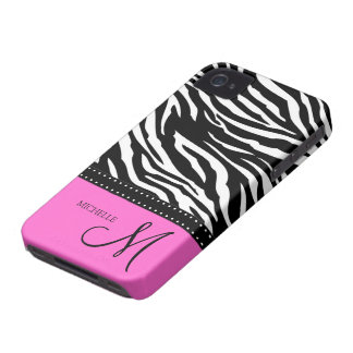 Black & White Zebra stripes with hot pink iPhone 4 Covers