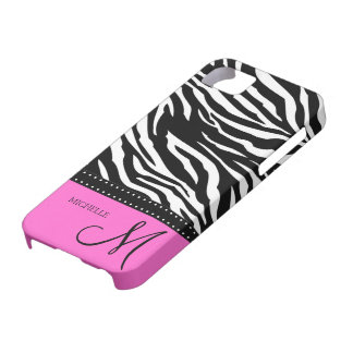 Black & White Zebra stripes with hot pink iPhone 5 Cases