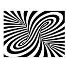 BLACK WHITE ZEBRA SWIRLS PATTERNS OPTICAL ILLUSION POSTCARD