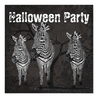 Black & White Zebras Halloween Invitation