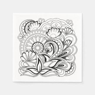 black&white zen pattern disposable napkins
