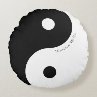 black/white zen yin-yang symbol with name round pillow