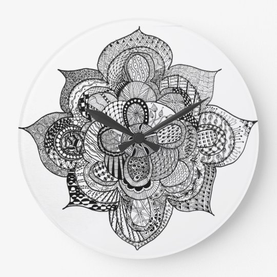 Black & White Zendoodle Abstract Lotus Flower Wallclock