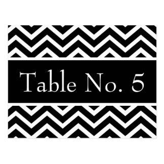 Black & White Zig-Zag Wedding Postcard Table #'s