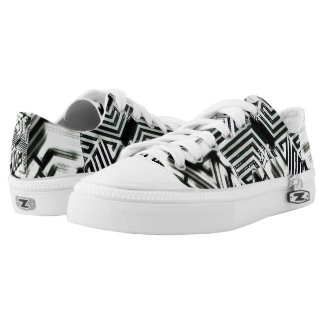 Black & White Zipz Low Top Shoes