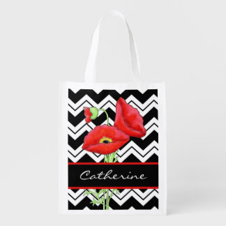 Black White Zizzag Chevron Red Poppy Name Reusable Grocery Bag