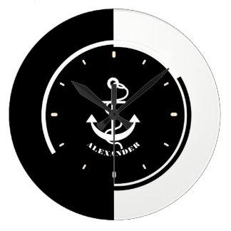 Black & WhiteGeometric Design With Boat Anchor Large Clock