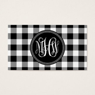 Black Wht Buffalo Check Plaid 3 Init Vine Monogram Business Card