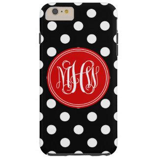 Black Wht Dot Red 3 Init Vine Script Monogram Tough iPhone 6 Plus Case