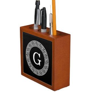 Black Wht Greek Key Rnd Frame Initial Monogram Desk Organizer