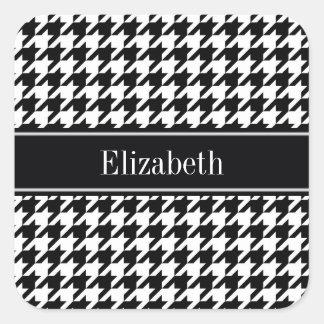 Black Wht Houndstooth Black Name Monogram Square Sticker