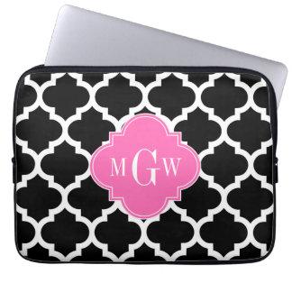 Black Wht Moroccan #5 Hot Pink #2 Name Monogram Laptop Computer Sleeve