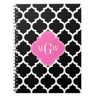 Black Wht Moroccan #5 Hot Pink #2 Name Monogram Note Books
