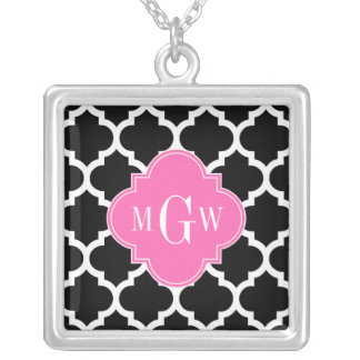 Black Wht Moroccan #5 Hot Pink #2 Name Monogram Square Pendant Necklace