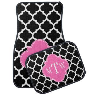Black Wht Moroccan #5 Hot Pink #2 Name Monogram Car Floor Carpet