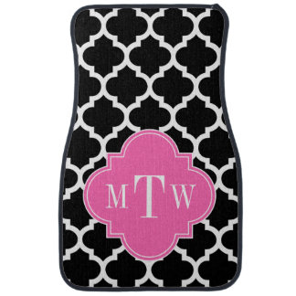 Black Wht Moroccan #5 Hot Pink #2 Name Monogram Car Mat