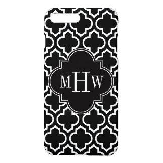 Black Wht Moroccan #6 Black 3 Initial Monogram iPhone 7 Plus Case