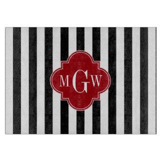 Black Wht Stripe Cranberry Red Square 3 Monogram Cutting Boards