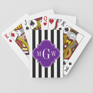 Black Wht Stripe Purple Quatrefoil 3 Monogram Playing Cards
