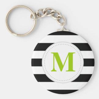 Black Wide Stripes Custom Monogram Keychain
