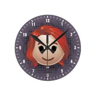 Black Widow Emoji Round Clock