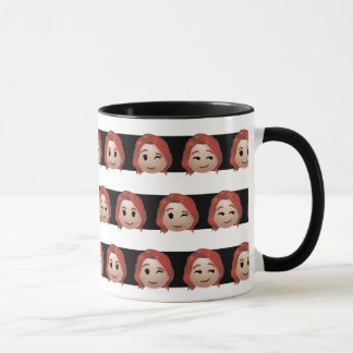 Black Widow Emoji Stripe Pattern Mug