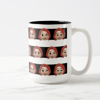 Black Widow Emoji Stripe Pattern Two-Tone Coffee Mug