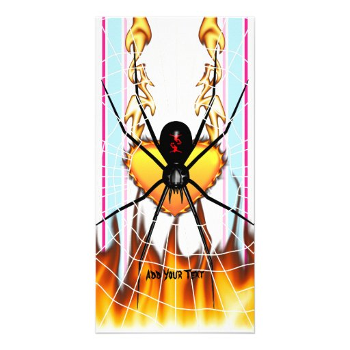 Black Widow on Heart of Fire Personalized Photo Card