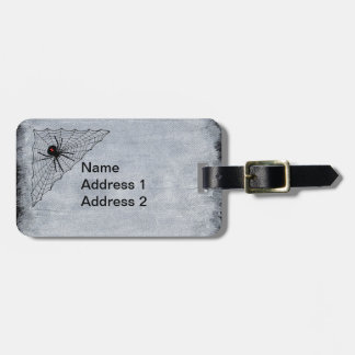 Black Widow Spider Red Hourglass Mark in Web Luggage Tag